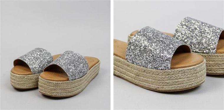 Sandalias flatform con glitter