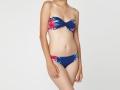 Bikini bandeau de flores en azul