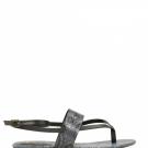Sandalia plana con acabado de serpiente