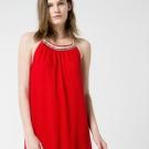 Vestido halter largo en tejido con textura
