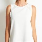 Camiseta combinada blanco crudo