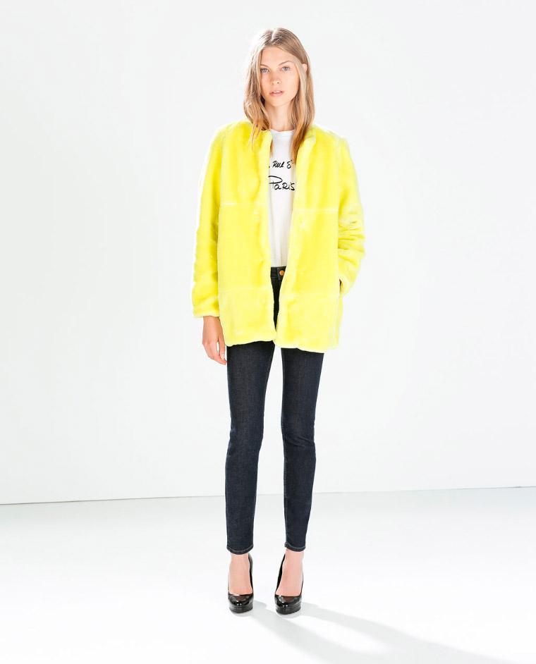 Abrigo de piel amarrillo vitaminado Zara