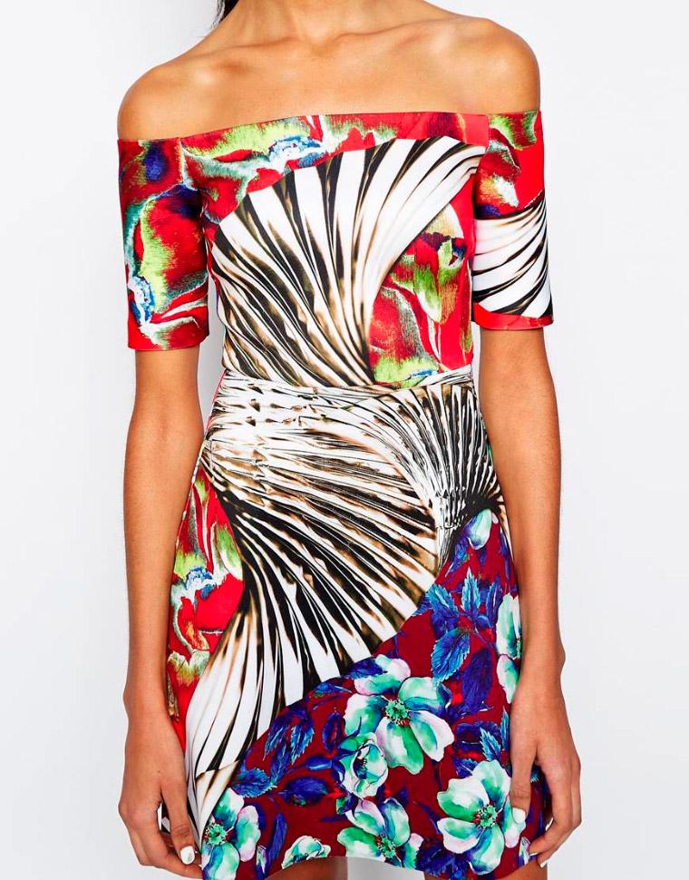 Vestido de neopreno con estampado floral estilo papel tapiz