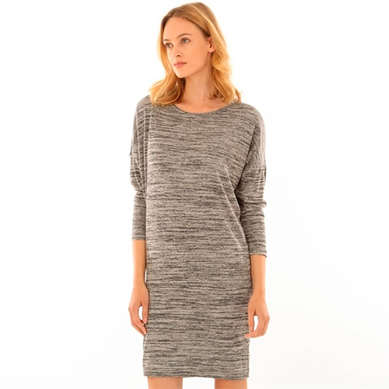 Vestido jersey en gris jaspeado